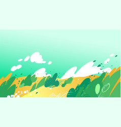 yellow fields with strong wind blowing out leaves vector image