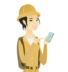 young asian traveler holding a mobile phone vector image