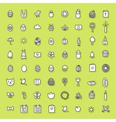 Easter icons hand drawn collection vector image