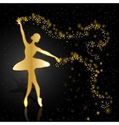 Gold ballerina on dark background vector image