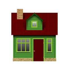 Green realistic house in front view isolated on vector