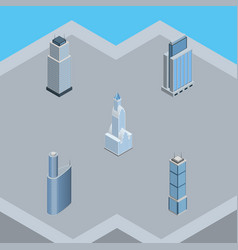 Isometric building set of building cityscape vector