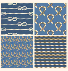marine ropes seamless patterns set vector image