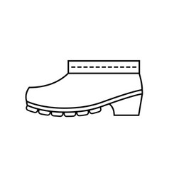 Rubber boots protective shoes flat linear icon vector