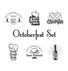 Set of Oktoberfest Labels - Beer Barrel Beer Mug vector image