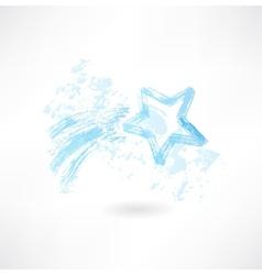 shooting star grunge icon vector image