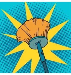 Spring cleaning broom pop art background vector