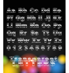 Transparent glass letters and digits vector image vector image