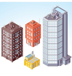 isolated isometric buildings vector image vector image