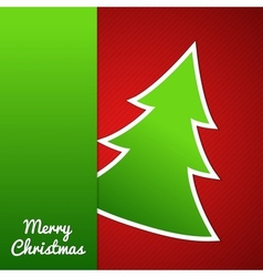 Paper Christmas tree on red striped background vector image