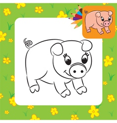 pig coloring page vector image