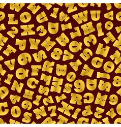 Seamless background of gold letters vector image vector image