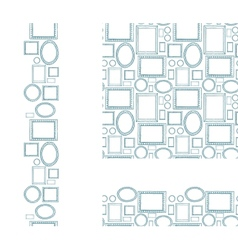 Set of blank picture frames seamless pattern and vector image