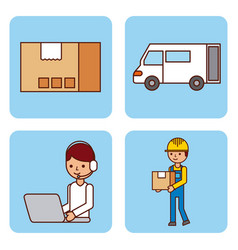 set of worker logistic delivery truck cardboard vector image vector image