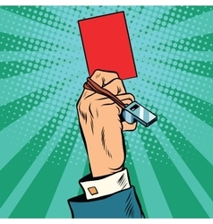 Red card hand business concept vector image