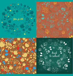 seamless and round floral patterns set vector image
