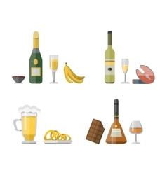 Set of different alcohol drink bottles vector image