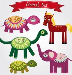 cute animal set horse elephant turtle vector image