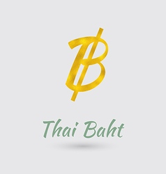 Golden Baht Symbol vector image
