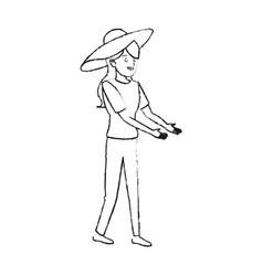Happy pretty woman with big sun hat icon imag vector