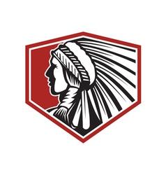 Native American Indian Warrior Side Retro vector image