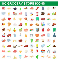 100 grocery store icons set cartoon style vector image