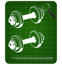 3d model of dumbbells on a green vector image