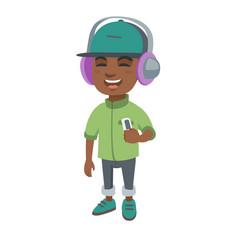 African boy listening to music in headphones vector