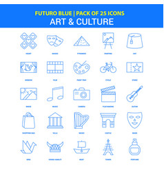 Art and culture icons - futuro blue 25 icon pack vector