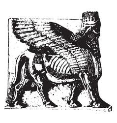 Assyrian sculpture is an winged bull vector