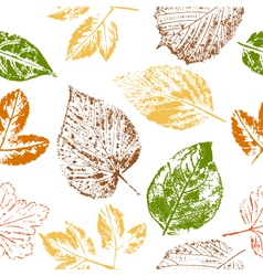 Autumn leaf stamps seamless pattern vector image