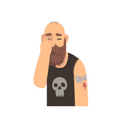 Bald bearded man covering his face with hand vector