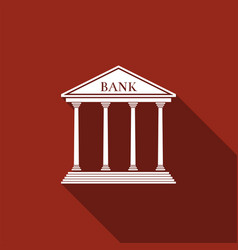 bank building icon isolated with long shadow vector image