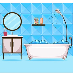 Bathroom with bathtub and shower vector image