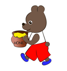 bear with a pot of honey vector image