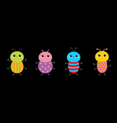 beetle bug set line insect animal collection cute vector image