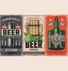 brewery factory beer pub and cafe poster vector image