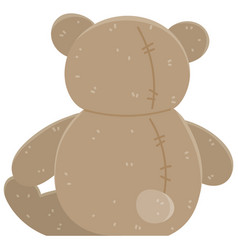 brown bear children s soft toy back view teddy vector image