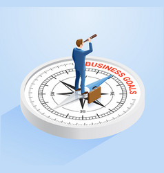 Businessman stand on compass vector