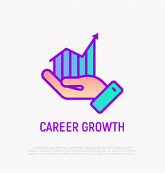 career growth line icon graph of growth in hand vector image