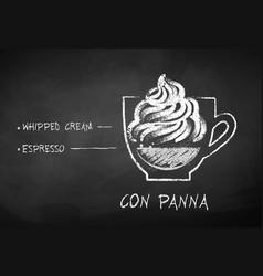 chalk drawn sketch of con panna coffee vector image