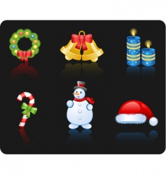 Christmas black background icon set vector