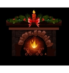 Christmas fireplace with fir vector