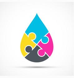 Cmyk liquid ink drop color pigments icon vector