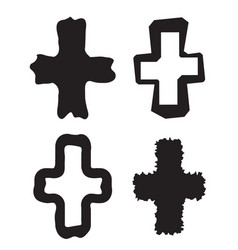 collection of stylized crosses isolated on white vector image