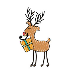 Color crayon stripe cartoon of funny reindeer with vector