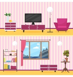 Colorful flat style modern livingroom interior vector