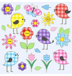 Cute birds and flowers vector