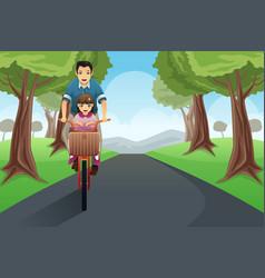dad daughter biking together vector image