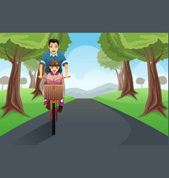 Dad daughter biking together vector